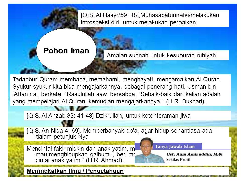 [Q.S. Al Hasyr/59: 18],Muhasabatunnafsi/melakukan introspeksi diri, untuk melakukan perbaikan